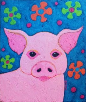 Hippie Peace Pig Painting by BZTAT
