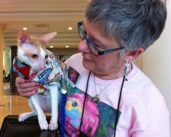 BlogPaws Teri Thorsteinson and her Cornish Rex Cat Brighton