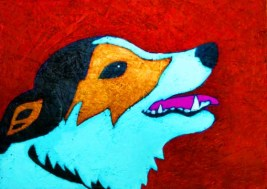 Contemporary Folk Art Style Jack Russel Terrier Dog Portrait