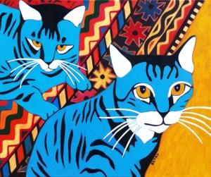 Contemporary Tabby Cat Pet Portrait Painting by Artist BZTAT