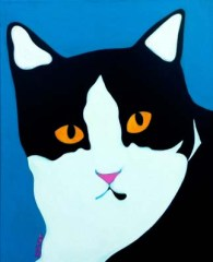 Black and White tuxedo cat portrait painting by BZTAT