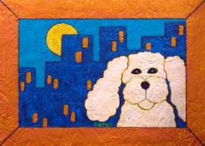 """City Poodle"" painting by BZTAT"