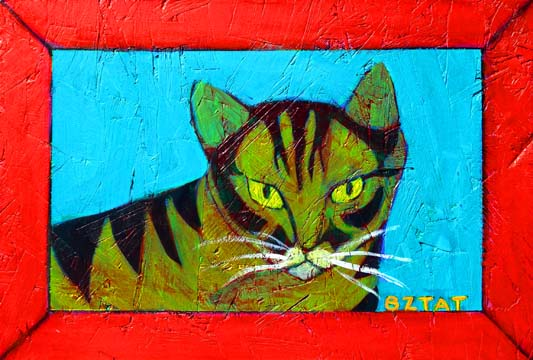 Tabby Cat portrait painting by BZTAT