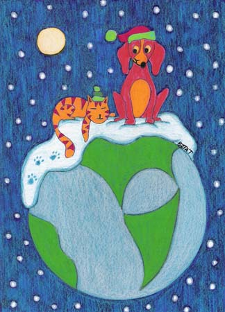 5. Holiday Cat and Dog Drawing Card (Greeting Inside: Peace on Earth.)