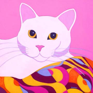 White cat portrait with patterned blanket