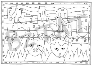 Just Meowing' Cat Coloring Book for Adults by BZTAT