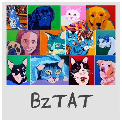 collectible contemporary custom pet portrait paintings by BZTAT