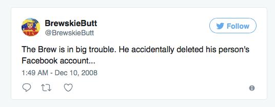 Brewskie Butt First Tweet