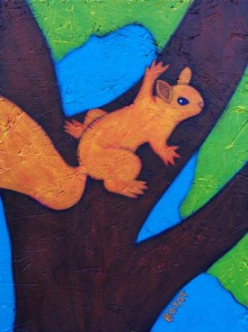 Whimsical Squirrel wildlife contemporary painting by BZTAT
