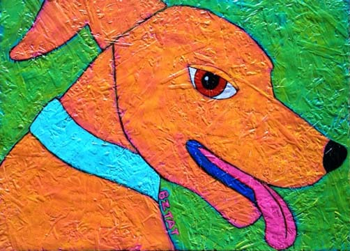 Whimsical Orange Dog Folk Art Style Pet Portrait by Artist BZTAT