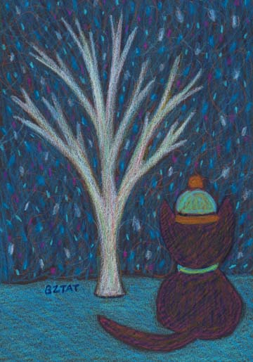 """Mia Meow's First Snow of the Season"" Drawing by BZTAT"