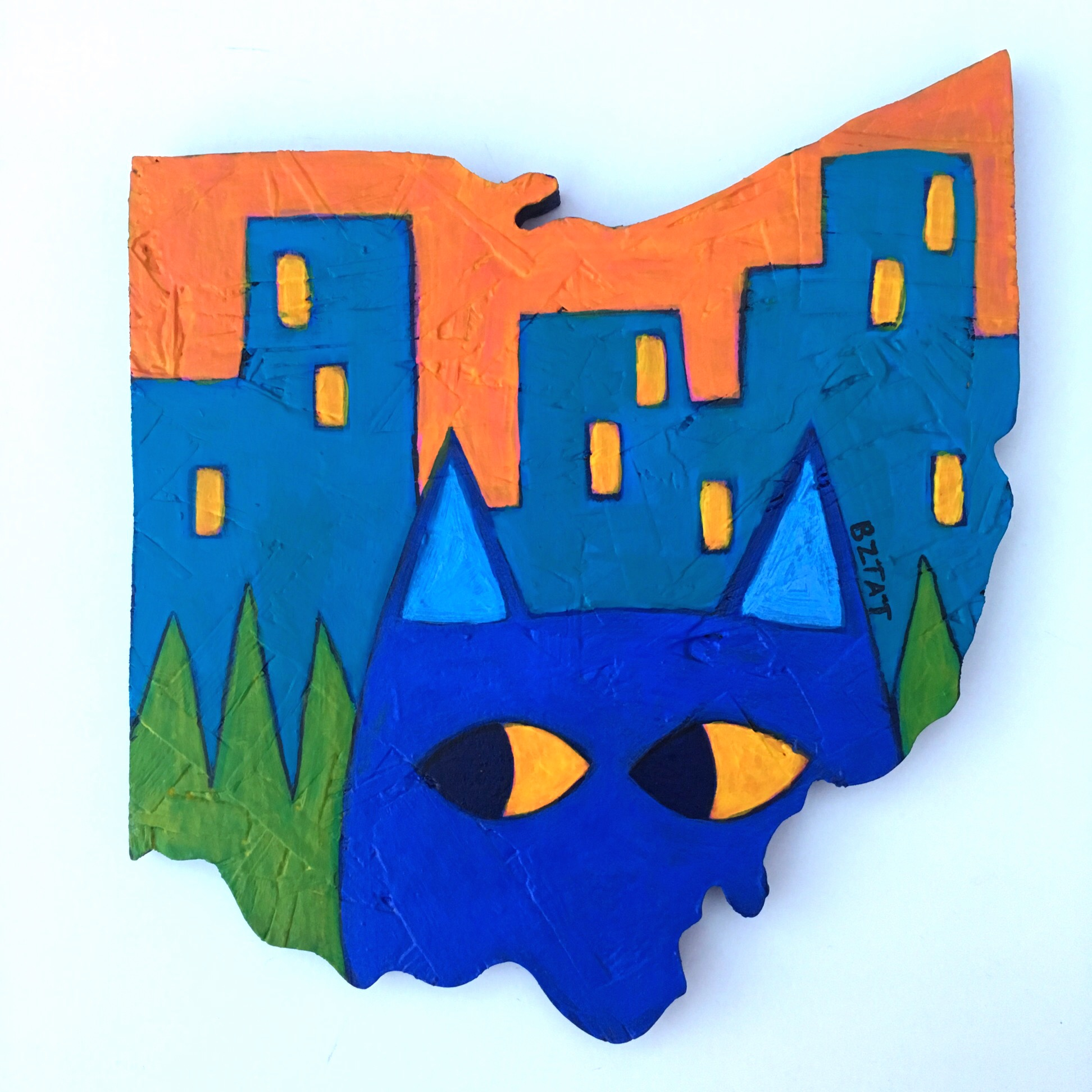 """""""Meow-hio"""" Cat Painting in the shape of Ohio by BZTAT"""