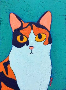 Custom Contemporary Folk Art Style Calico Cat Portrait by BZTAT