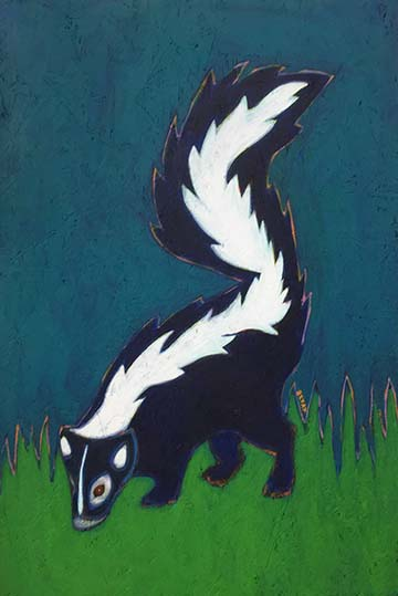 Skunk urban wildlife painting contemporary pop art BZTAT