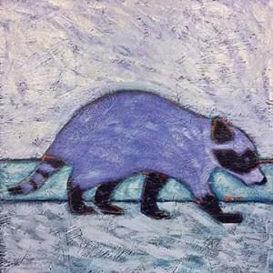 Raccoon urban wildlife painting contemporary pop art BZTAT