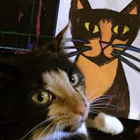 Mia Meow tortoise shell cat companion of Artist BZTAT