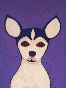 Contemporary Folk Art Pet Portrait Paintings.