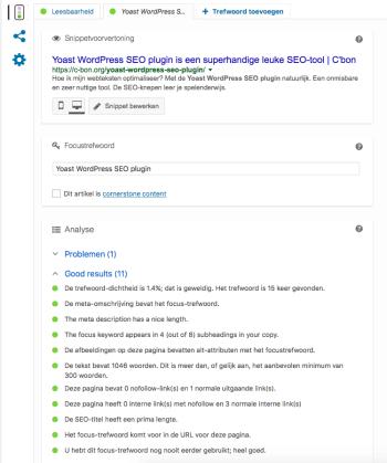 De Yoast WordPress SEO plugin analyseert de content heel gebruiksvriendelijk