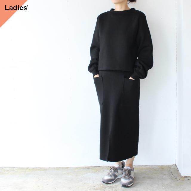 Siora カードボードニットセットアップ Cardboard knit setup / Puff sleeve pullover & Midi skirt (ブラック)