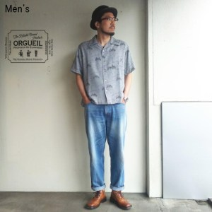 ORGUEIL 総柄オープンカラーシャツ Open Collared Shirt OR-5019 (GRAY)
