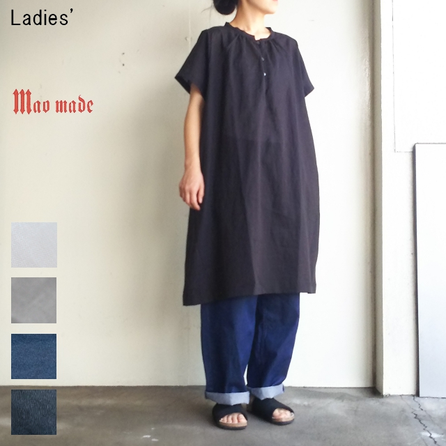 maomade コットンリネンワンピース Cotton Linen Onepiece 721309 (BLACK)