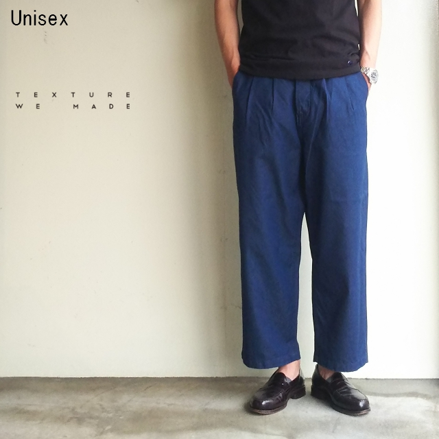 TEXTURE WE MADE ワイドタックトラウザー WIDE TUCK TROUSERS CTX-006 (LIGHT INDIGO)