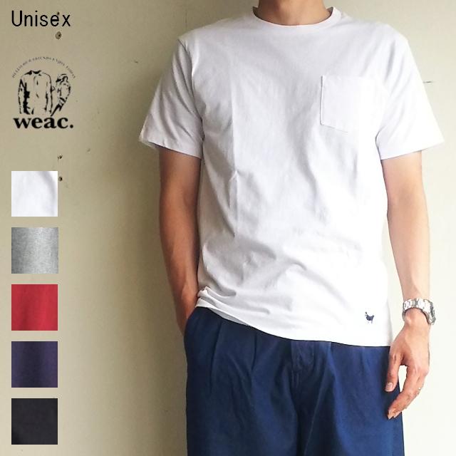 weac. パグ刺繍ポケットTシャツ PUG-T (WHITE)