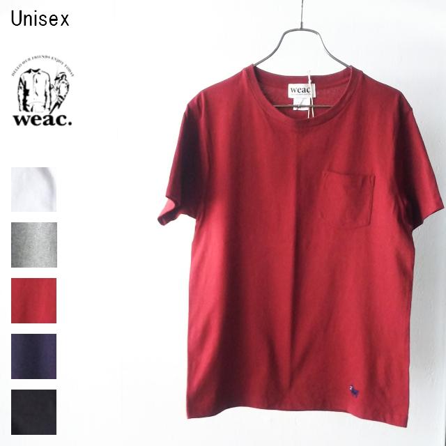 weac. パグ刺繍ポケットTシャツ PUG-T (BURGUNDY)