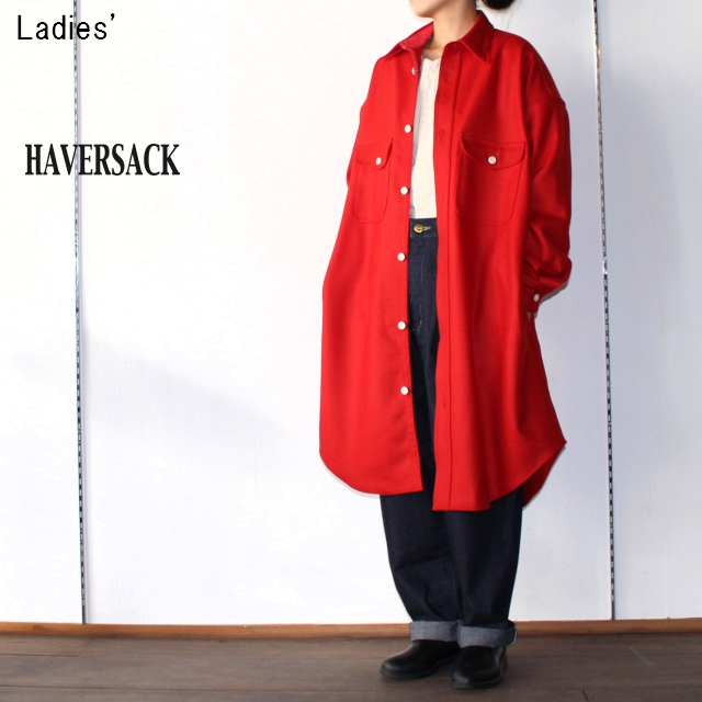 HAVERSACK ウールロングシャツ Wool Long Shirts 321711 (RED)