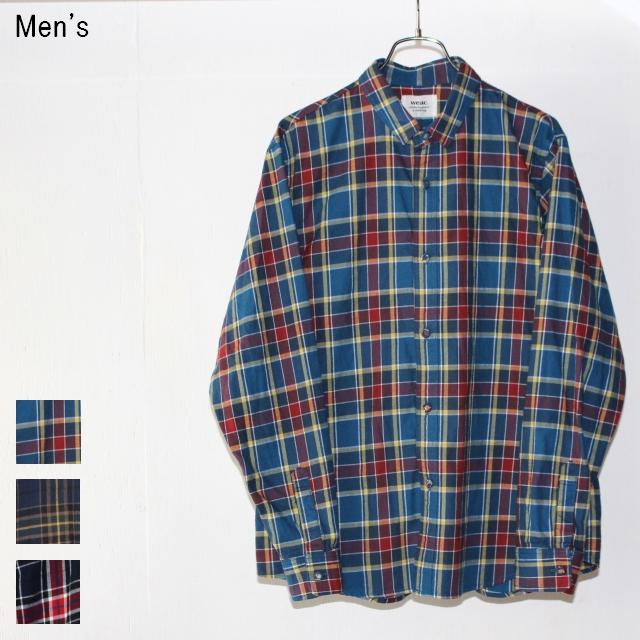 weac. コットンネルチェックシャツ KURUMICHAN (BLUE×RED)