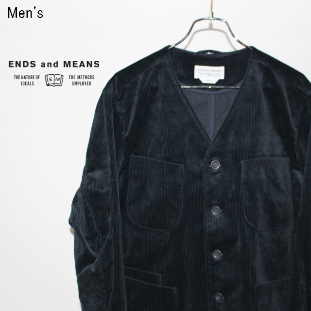 ENDS and MEANS コーデュロイジャケット Cord Grandpa Jacket EM172J007 (NAVY)