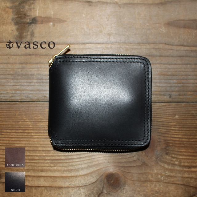 vasco レザーZIPショートウォレット LEATHER VOYAGE ROUND ZIP SHORT WALLET VSC-700Z (NERO)