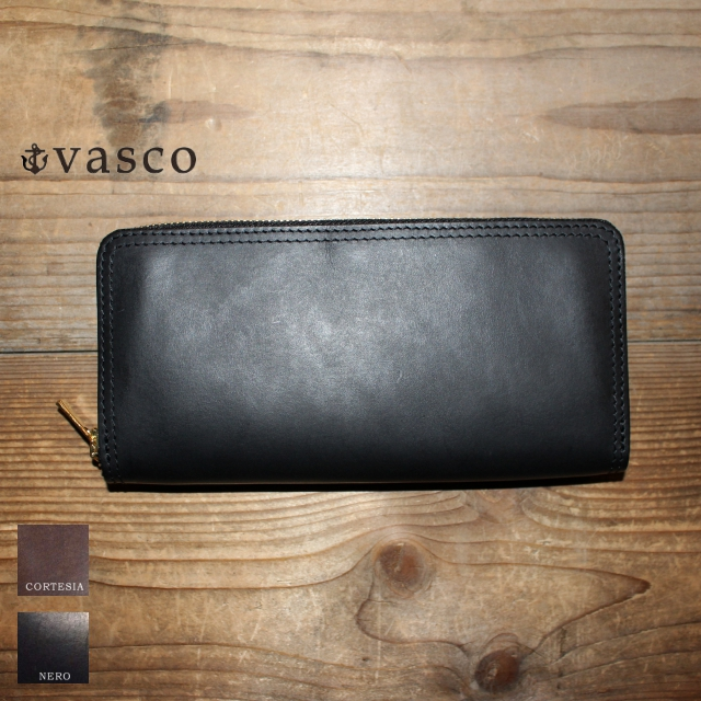 vasco レザーZIPロングウォレット LEATHER VOYAGE ROUND ZIP LONG WALLET VSC-701Z (NERO)