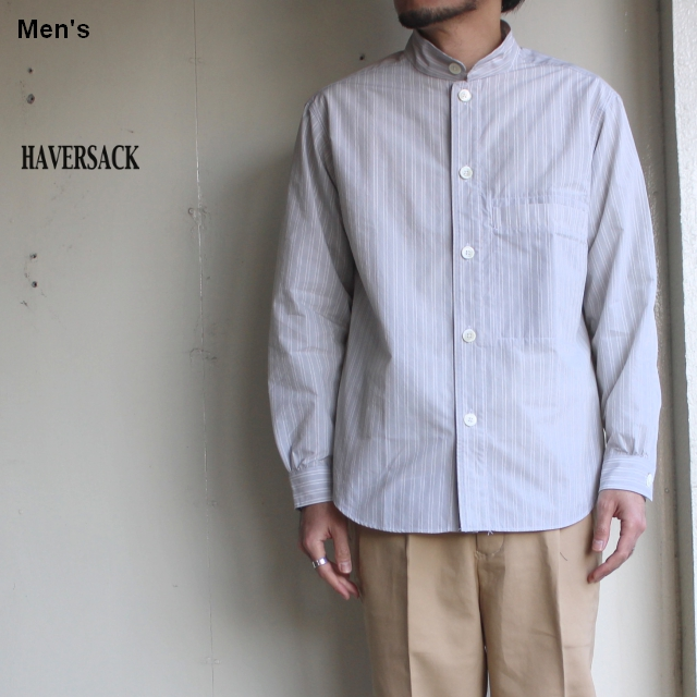 HAVERSACK C/Nストライプスタンドカラーシャツ 821930 (GRAY STRIPE)