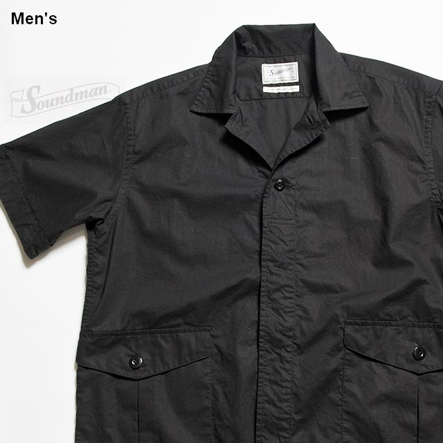 Soundman カーゴポケットオープンカラーシャツ Austin 275M-911N (ブラック)