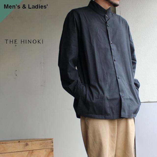 THE HINOKI パラシュートクロススタンドアップカラーシャツ ブラック TH19W-8