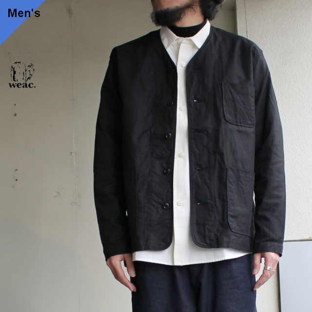 weac. ノーカラーシャツジャケット VICTOR ブラック