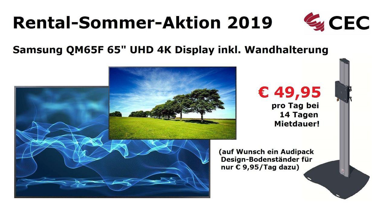 Samsung Hannover, Displays Hannover, Samsung QM65F, RSA2019, Rental-Sommer-Aktion, Medientechnik Hannover, Dry Hire Hannover, Konferenztechnik Hannover, UHD, 4K