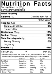 Nutrition Label Sample