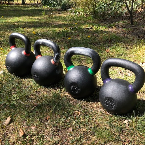 Small selection of Kettlebells in the Garden