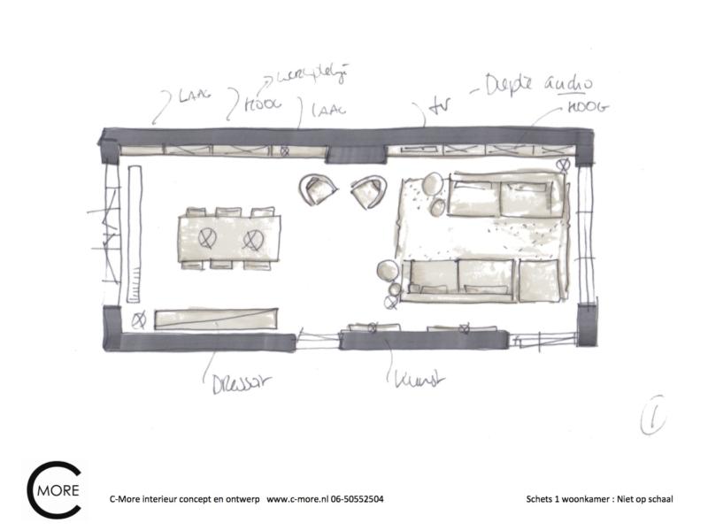 presentatie schetsen 1 en 2 woonkamer Vincent en Nicole 1