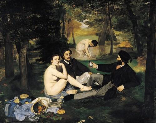 """Cette version du fameux tableau de Manet introduit un """"détail"""" technologique qu'on voit mieux en cliquant sur l'image pour l'agrandir…"""
