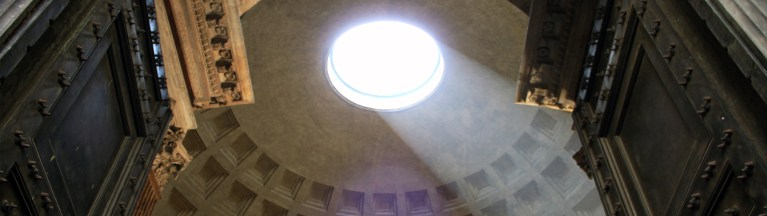 Light streaming through the Pantheon roof - a 2000 year walk through the heart of Rome with C-Rome.