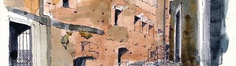 Illustration of the Trajan Market, Rome. Drawing classes and Urban Walks - C-Rome.