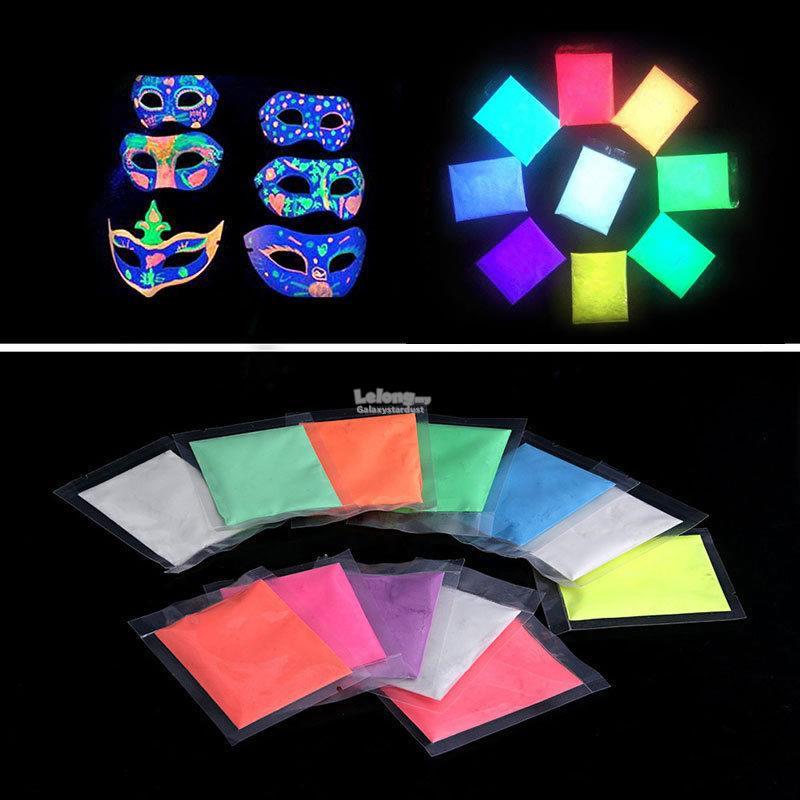 14 color multi purpose diy glow in the dark powder