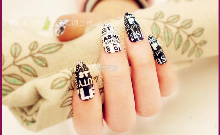 24pcs Box Design Fake Nails Long Sharp Tips Non Chip Shiny Durable