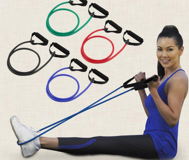 Fitness Resistance Band Rope Tube Elastic Exercise For Yoga Pilates Wo