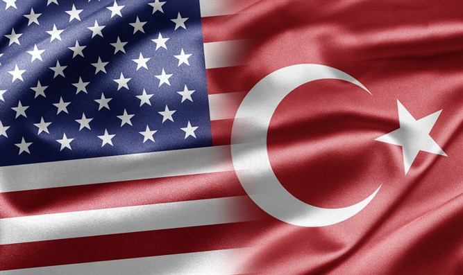 Flags of the United States and Turkey