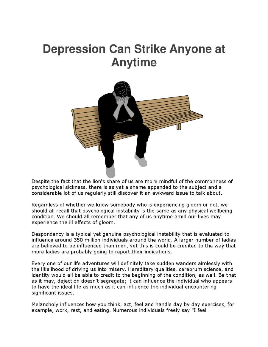 Depression Can Strike Anyone at Anytime