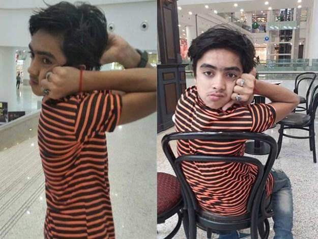 محمد سمیر اپنی گردن 180 درجے زاویے پر موڑ کر پیچھے دیکھنے کی صلاحیت رکھتےہیں۔ فوٹو: بشکریہ ڈیلی میل